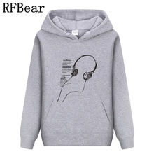 RFBear Brand 2017 men cotton Hoodies sweatshirt Solid color Print trend comfortable pullover coat warm Clothes Autumn and Winte(China)