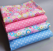 4pcs 40cm*50cm  pink blue chic flower Cotton Fabric sewing baby cloth Quilting scrapbooking Patchwork Fabric diy tecido tissue