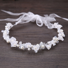 Handmade White Flower Wedding Headband With Ribbon Pearl Headpieces Rhinestone Bridal Hair Band Bride Hair Jewelry