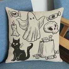 Factory Direct Supply Hand Painted Cartoon Spoof Pumpkin Skull Creative Soft Short Plush Pillow Cushion For Halloween Gifts
