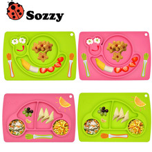 Sozzy silicone plate meals for children Learn to eat food safety Baby toy eether rattle chicco tiff 925 pram teethers maracas(China)