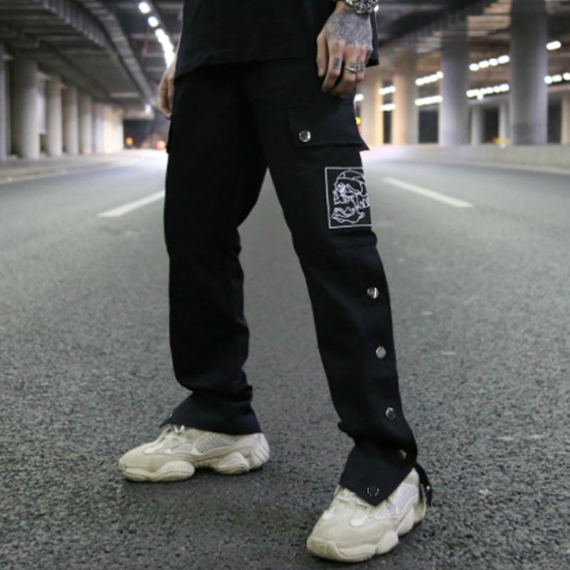 Slim Fit Side Snap Cargo Pants Harajuku Skull Print Elastic Waist Drawstring Sweatpants In Black/Green Streetwear