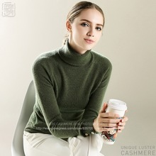 Main product Fall Winter Women Solid Turtleneck 100 Cashmere Sweater Lady High Collar Long Raglan Sleeve Button Pullover m1625