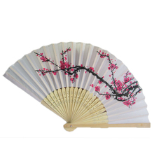 New Arrive  Elegant Plum Blossom Flower Print Folding Hand Fans 2001 Designer White Polyester Fans Summer Women Girl Dancing Fan