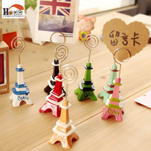 1 x CUSHAWFAMILY Cute Mini Eiffel Tower desktop figurines message note clip pictures photo holder Home decor Arts crafts gifts(China)