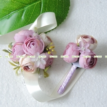Prom Artificial Rose Boutonniere Bride Corsage Wrist Flower Wedding Decor Purple White BW015