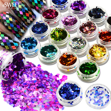SWEET TREND 1 Bottle Sparkly Rhombus Paillette Nail Art Colorful 3D Sequins Laser Glitter Nail Art DIY Shining Tips LALS01-16