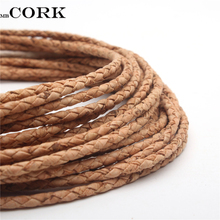 Natural Cork 3mm round Braided cork cord Portuguese cork jewelry supplies /Findings cord vegan Cor-147(Portugal)