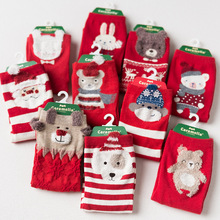 Caramella Christmas Socks New Year Gift autumn winter women red cute cartoon animal cotton socks ladies straight sock 4pair/lot(China)