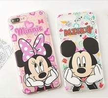 Cute Cartoon Minnie Mickey Transparent TPU Case For iPhone 7 Plus SE 5S 6 Plus Coque for Samsung Galaxy S7 S6 Edge Plus Note 5