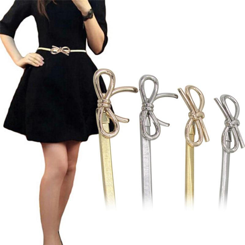 Women Metal Bow Design Belt Clasp Front Stretch Elastic Waist Dress Belt Strap Waistband Waist Belt Hot