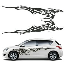 Pair 210.5 x 48cm Black Universal Car Flame Graphics Vinyl Car Side Sticker Decal Waterproof