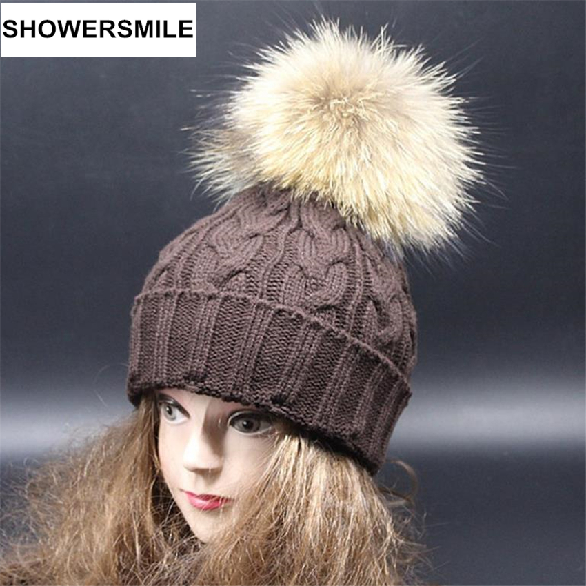 Winter Hats For Women Real Fur Pom Pom Hat Solid Knitted Cap Raccoon Fur Ball Skullies And Beanies Coffee Black Female CapОдежда и ак�е��уары<br><br><br>Aliexpress