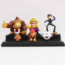 3-8cm 6pcs/lot Super Mario Bros Donkey Kong Waluigi Wario Ghost Goomba Action Figures Toy Doll