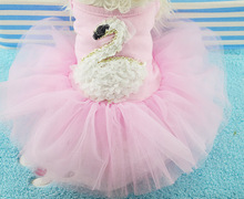 Summer style dogs cats fashion swan lace tutu princess dress doggy lovely party dress pet dog cat sexy dresses clothes 1pcs