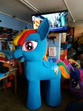 Little Pony Rainbow Dash Mascot Light Blue Costume Character in four legs fancy dress for the Halloween party