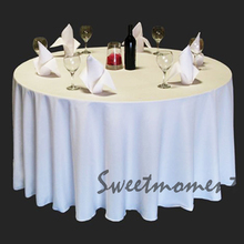 cheap 100% Polyester White Table covers in 108'' Round Good Quality Tablecloths for Wedding Sturdy Table cover