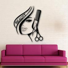 Sexy Girl Wall Stickers fashion Hair Beauty Salon Barbershop Sexy Girl Advertising Wall paper(China)