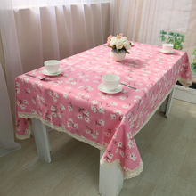 New arrival pastoral pink fresh printed tablecloth rectangle dining tablecloth square tablecloth coffee tablecloth napkins