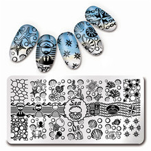 1 Pc 12*6cm Rectangle Nail Art Stamp Template Sea Shell Starfish Design Stamping Image Plate L012(China)