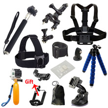 SAQN for Gopro accessories Set tripod monopod Chest Belt Head Mount Strap For Go pro hero4 3 5 Black Edition set For SJCAM H8 H9