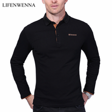 Casual Polo Shirt Men Fashion Letter Print Long-Sleeve Men's Polos New Arrival Fashion Brand Polo Shirts Man Hot-Sale Slim Polos(China)