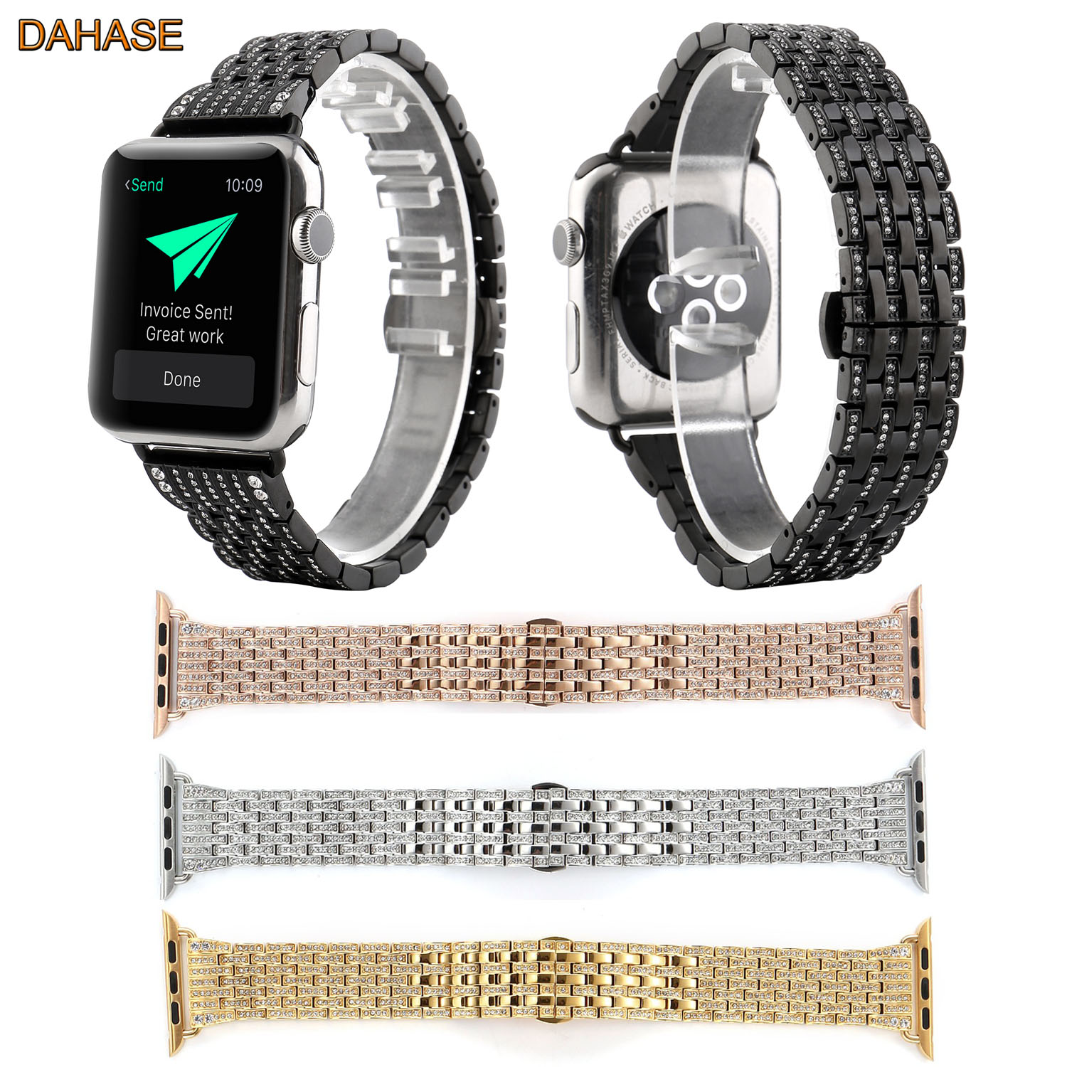 DAHASE Bling Crystal Stainless Steel Watchband for iWatch Strap Diamond Rhinestone Band for Apple Watch Series 1/2/3 Wristband<br>