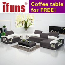 IFUNS modern design genuine leather sectional sofa set/cow italian leather sofa set living room furniture