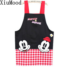 real crafts avental de cozinha divertido black mickey aprons kitchen accessories fashion overalls home apron japan cartoon(China)
