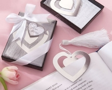 100pcs/lot Heart Silver Bookmarks Wedding Favors Gifts Metal Bookmarks Hot Sell Wedding Collections