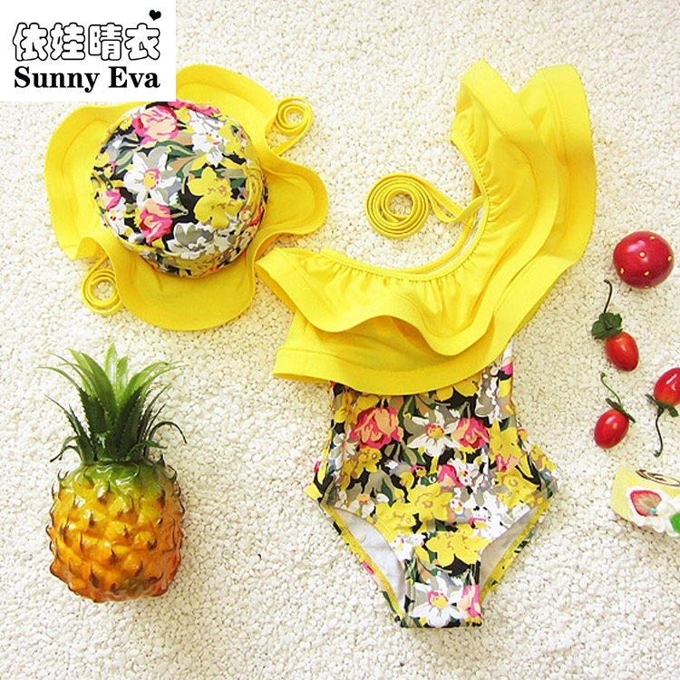 sunny eva one piece swimsuit floral swimming suit for kids children girl bathing suits clothes kids swimwear with swimming cap(China (Mainland))