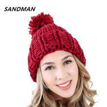 SANDMAN Solid Adult Casual Cotton Acrylic Rushed Female Very Warm Pom Poms Winter Hats Coarse Knitted Hat For Women Beanies(China)