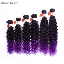 14-18inch Curly Synthetic hair Weave Ombre purple Colored Sew in hair extensions One pack full head bundles Golden Beauty(China)