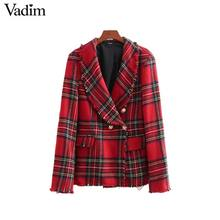 Vadim women plaid notched collar tweed blazer double breasted pockets tassel hem female loose casual outwear chic tops CA106(China)