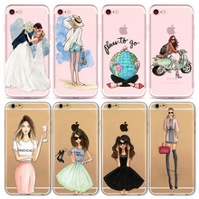 Sexy Summer Travel Girl drink Phone Case For Apple iPhone 7 6 6s 5 5S SE 7plus 6sPlus Transparent Soft Silicon Mobile Phone Bag(China)