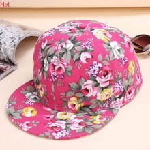 Ladies Baseball Hat Cap Flowers Printing Cotton Women Floral Caps Sports Casual Hats Snapback Summer Sun Hat Fashion SV009084(China)