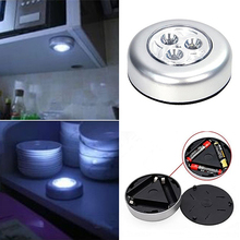 New Design Mini Useful Wall Light Kitchen Cabinet Closet Car 3 LED Wireless Push Touch Lamp