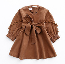 2017 New Autumn Vintage Style Baby Girl Velvet Dress Bowknot Lantern Sleeve Winter Kids Corduroy Pompoms Dresses for Girls(China)