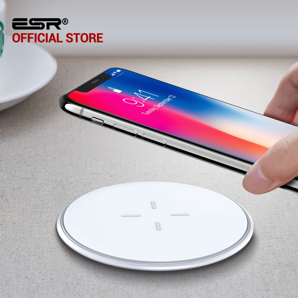 QI Wireless Charger 10W iPhone X 8 Plus Samsung Galaxy S7 S8 S9 Note, ESR Ultra Thin 5.5mm Fast Wireless Charging Pad