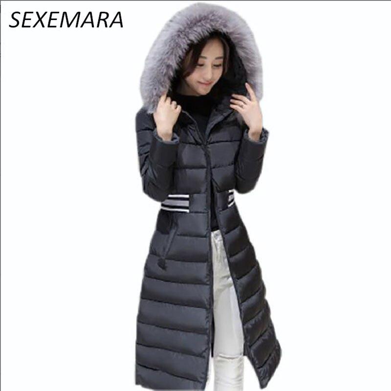 Winter coat lady 2017 new large fur collar hooded jacket Slim Long section LU020Îäåæäà è àêñåññóàðû<br><br>