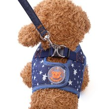 Pet Product Cute Soft Puppy Cowboy Dog Harness+Leash Set Cat Chest Pet Walking Fabric High Quality British Style 4 Colors