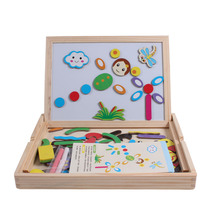 2017 new arrive wooden drawing toys children's jigsaw puzzle wonderful double-sided magnetic puzzle toys LL44(China)