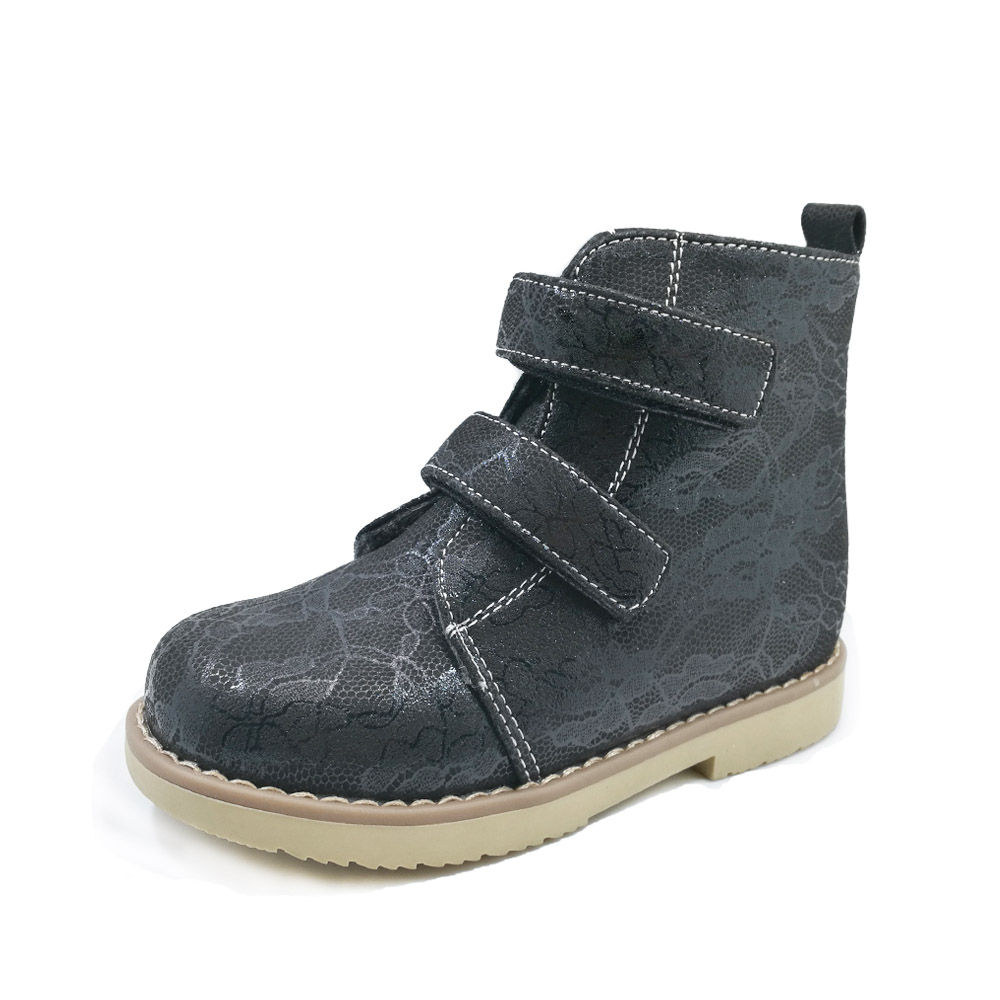 One pair stock euro size31 girls flower printing leather orthopedic footwear kids  black spring autumn ankle boots<br>