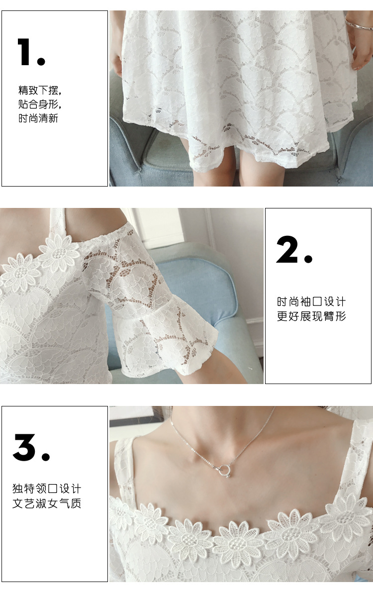 18 New fashion women summer lace sexy dress white Korean style clothes for womens vestido de festa mini white clothings 1