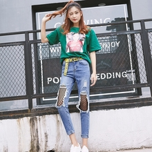 2017 Summer New Pattern woman Jeans Korean Originality Fashion Net Holes jeans 2222  Random present canvas belt