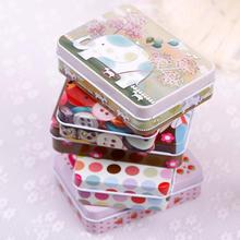 Fashion 1PC Random Color Rectangular Iron Card Decor Tin Storage Bag Small Jewelry Box Gift #52041