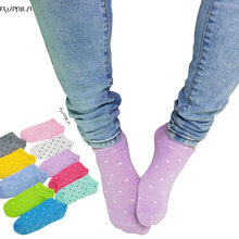 Warm comfortable cotton bamboo fiber girl women's socks ankle low female invisible  color girl boy hosiery1pair=2pcs WS03-6