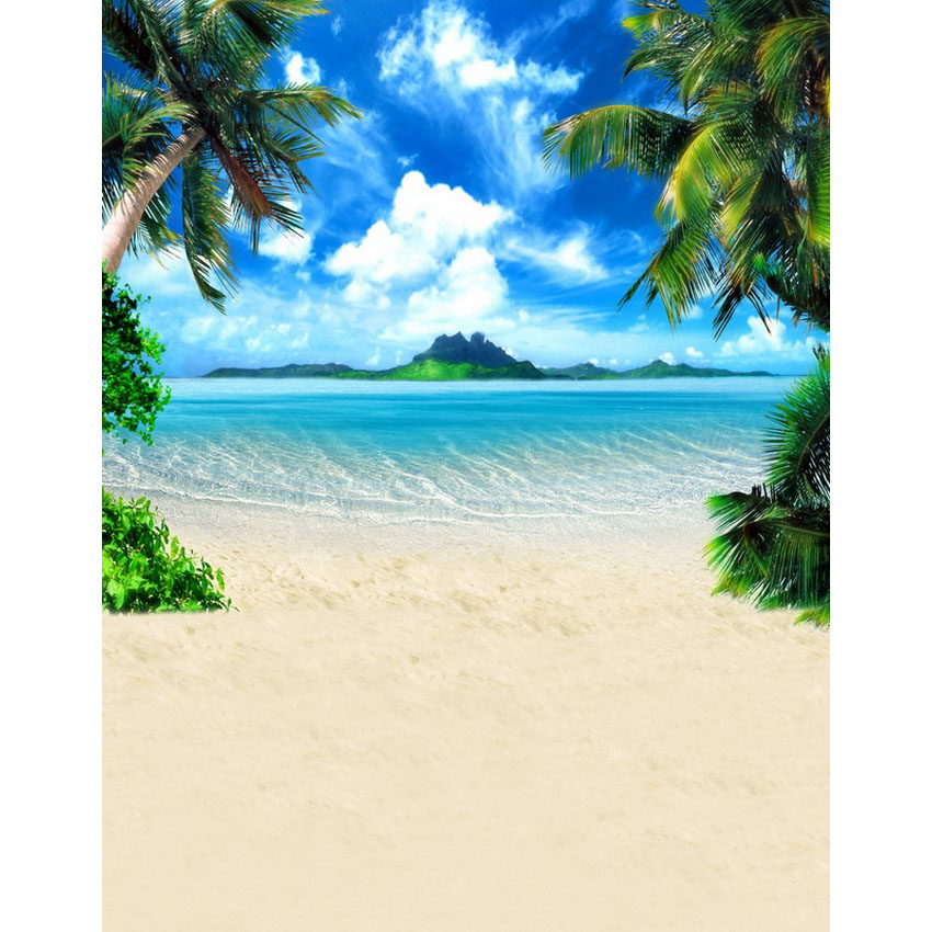 Palm trees on silver sea beach photography backdrop fabric background for photo studio photography background props photophone<br>
