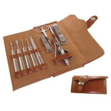 Best Sale Generic Luxury Nail Care Personal Manicure Pedicure Nail Clipper Set with Brown Leather Case,11pcs