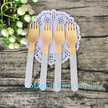 144pcs Count Wholesale Pack -Eco-Friendly Wooden Cutlery Glitter Silver Design Wood Fork Picnic/Event/Baby Shower Table Cutlery(China)
